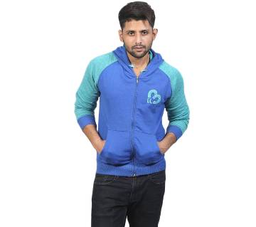 Blue and Aqua Cotton Hoodie for Men