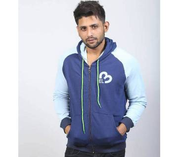 Navy Blue and Light Cyan Cotton Hoodie for Men