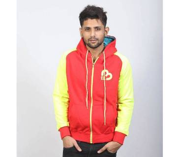 Red and Yellow Cotton Hoodie for Men