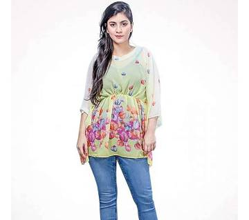 White Printed Georgette Tops for Women