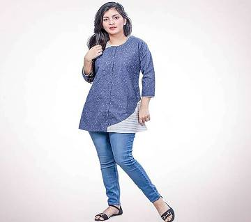 Blue and white Cotton Tops for Women