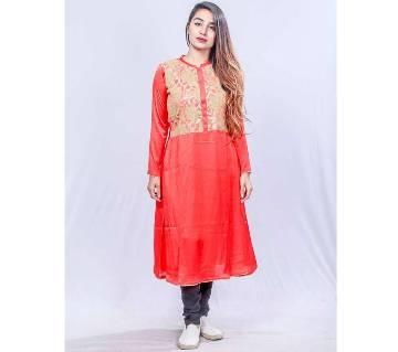 Red Shamu Silk Kurti for Women