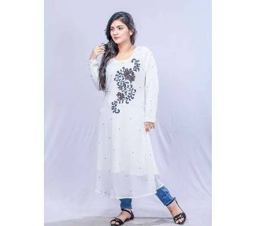 White and Blue Georgette Kurti for Women