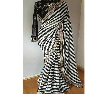 Ladies black and white Georgette sharee