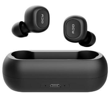 QCY T1C Mini Wireless Music ইয়ারফোন ব্লুটুথ  v5.0 4.5hrs play time Auto-power on and pairing - Black
