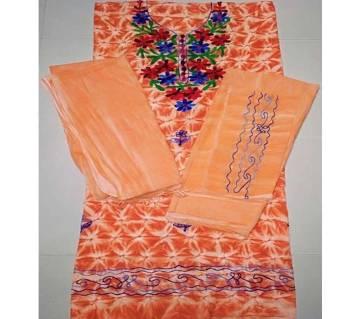 Unstitched Embroidery Work Cotton Three Piece