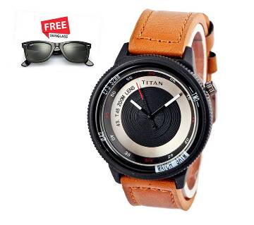 Titan Zoom Lens watch for men copy with free sunglasses