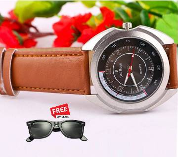 Bell Boss wrist watch for men with sunglasses free