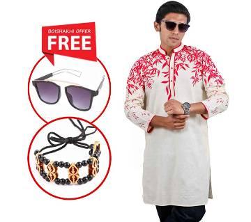Baishaki Gents Semi Long Cotton Panjabi with Free Sunglasses & Bracelet