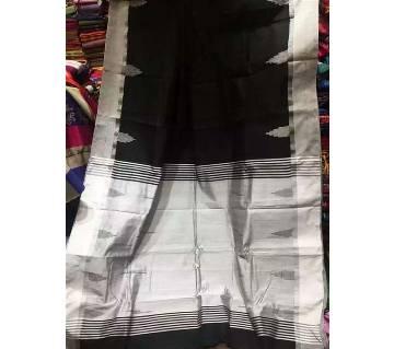 Black & Silver Half Silk Sharee