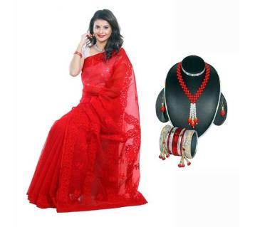Boishakhi pure moslin silk saree + Necklace Set Combo