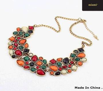 Colorful Gem Choker Necklace For Woman