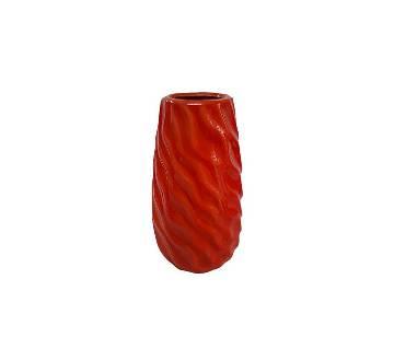 Stripe Designed Ceramic ফুলদানি- Red