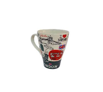 Retro London Ceramic Coffee Mug - Red & Black