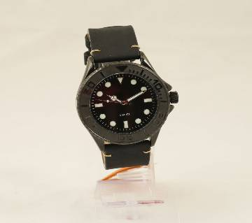 Original IBSO Full Black Leather Strap Watch
