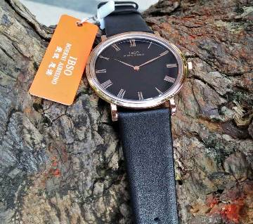 Original IBSO Slim Black Leather Strap Watch