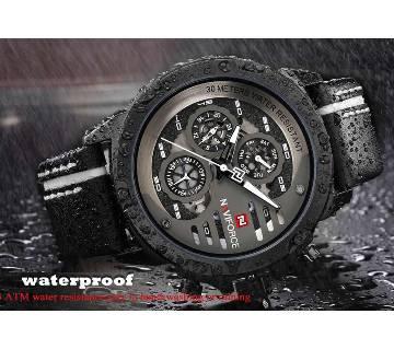 NAVIFORCE Waterproof 24 Hour Day Date Quartz Man Leather Sport রিস্টওয়াচ