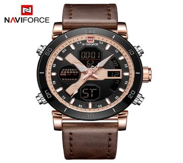 NAVIFORCE Luxury Brand Mens Sport Watches Men Fashion Quartz Digital Clock Man Leather Military Waterproof রিস্টওয়াচ