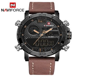 NAVIFORCE ডুয়াল ডিসপ্লে মেনজ রিস্টওয়াচ Quartz Watch Men Black Sport Clock Alarm 12/24 Hour Display Leather Relogio Masculino Hot
