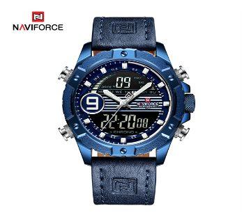 Naviforce 9146 মেনজ লেদার LCD Quartz রিস্টওয়াচ