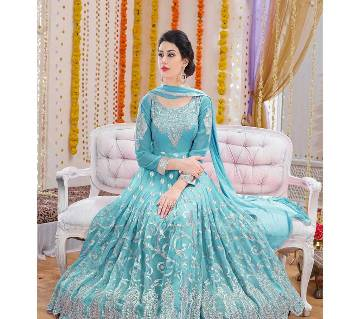 Semi Stitched Embroidery Georgette Gown - Replica