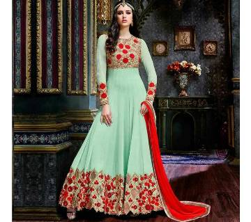 Unstitched Embroidery Georgette Gown - Replica