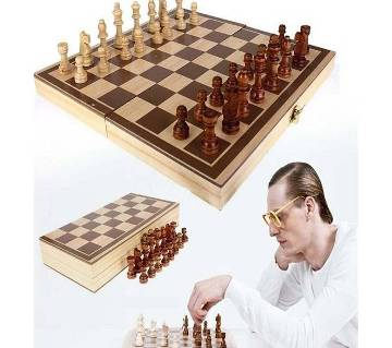 Wood Combination Chess Game Set With Folding Carrying Case