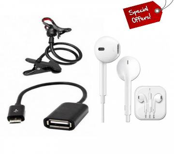 Combo offer 360 Rotate Stand+Micro USB OTG Cable + Apple Earphone (copy)