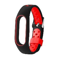 Xiaomi Silicone Strap Bracelet for Mi Band 2 - Black and Red
