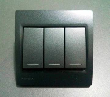 3 Gang Wall Switches, Black Color, Siemens