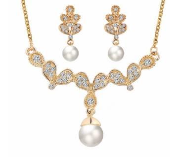 Pearl Necklace Earrings Set