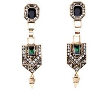 Green Crystal Long Drop Earrings বাংলাদেশ - 6152861