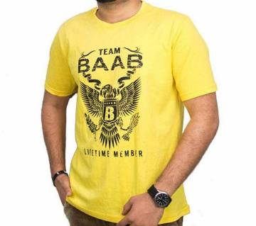 Gents Round Neck Cotton T-shirt -Yellow