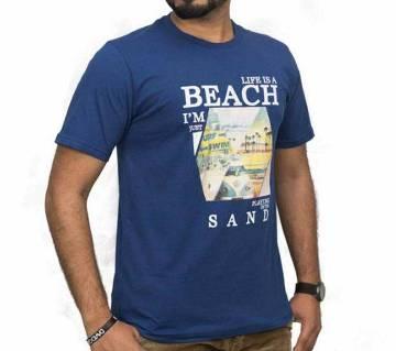 Gents Round Neck Cotton T-shirt -Blue