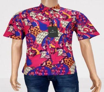 Malaysian Cotton Batik Print Mens Shirt - 02