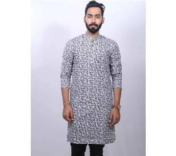 Black semi long cotton Punjabi