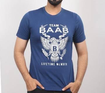 Blue BAAB round neck cotton t-shirt for men