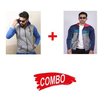 Gents Stylish Full sleeve Hoodie + Stylish Hoodie for men - Ash Combo Offer