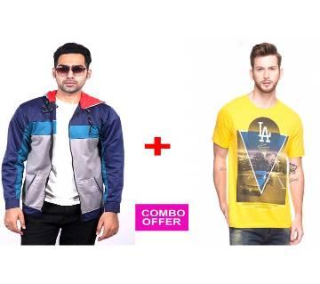 Ash & Black Hoodie + LA T-Shirt Combo Offer