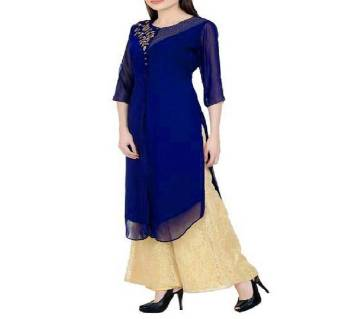 Navy Blue Embroidered Georgette Kurti 320