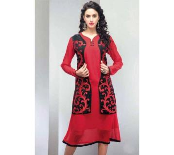 Red Georgette Embroidered Semi Ready Kurti 316
