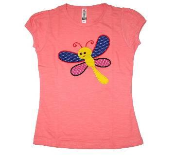 Pink Foring Cotton Girls Tshirt