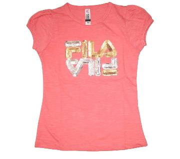 Light Pink Fila Cotton Girls T shirt