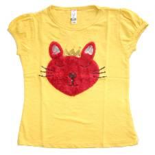 Red King Cat Yellow Girls T Shirt