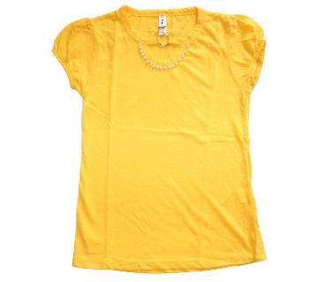 Yellow Stone Work Designer Baby Girls Tshirt