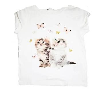 Baby Girls Cotton Round Neck T-Shirt