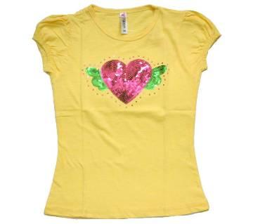Yellow Love Fly Bird Cotton Girls T-Shirt