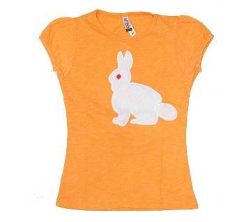 Orange Khargosh Tshirt For Girls