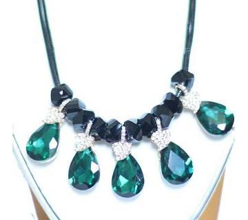 Glossy Black & Green Designer Leaf Shape Necklace