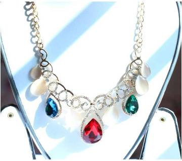 Multcolor Stone Designer Flower Shape Necklace